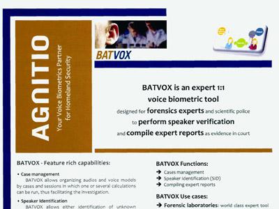 Uno de los folletos comerciales del producto Batvox, de la empresa Agnitio, publicados por Wikileaks. PÚBLICO