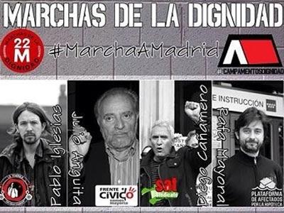 Cartel de la presentación de las Marchas por la Dignidad en el que participaron, entre otros, Julio Anguita y Pablo Iglesias.