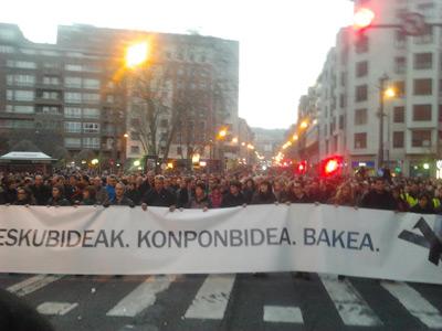 Cabecera de la manifestación al inicio de la misma/FOTO: Luis Giménez