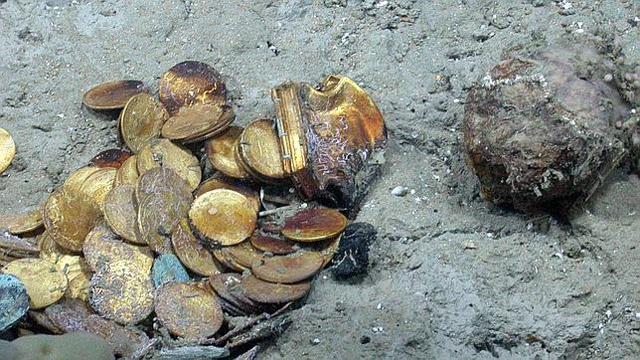 Algunas monedas del tesoro recuperado por el 'Odyssey'.