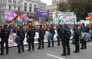 La Policía bloquea la manifestación de las <br>Marchas de la Dignidad