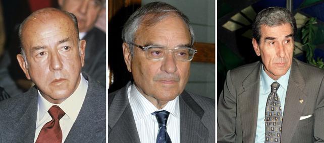 Los exministros españoles José Utrera Molina, Rodolfo Martín Villa y Fernando Suárez, en imágenes de archivo.