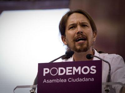 El líder de Podemos, Pablo Iglesias, durante su intervención en la asamblea fundacional del partido.- JAIRO VARGAS