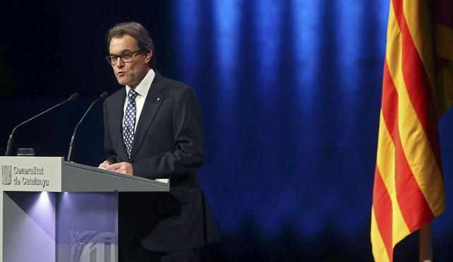 El president Artur Mas durante su intervención en el Auditori Fórum.
