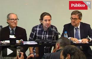 Iglesias, Navarro y Torres presentan el programa económico <br>de Podemos