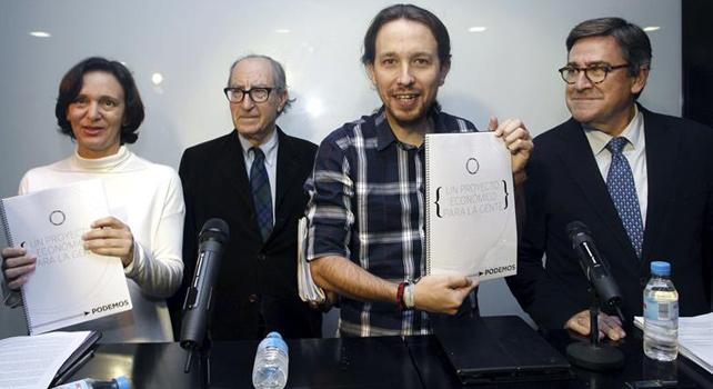 Carolina Bescansa, Vicenç Navarro, Pablo iglesias y Juan Torres en la presentación del documento marco sobre el programa económico de Podemos.