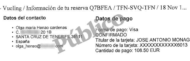 Tenerife-Sevilla: pasajero Olga Henao; Visa José Antonio Monago
