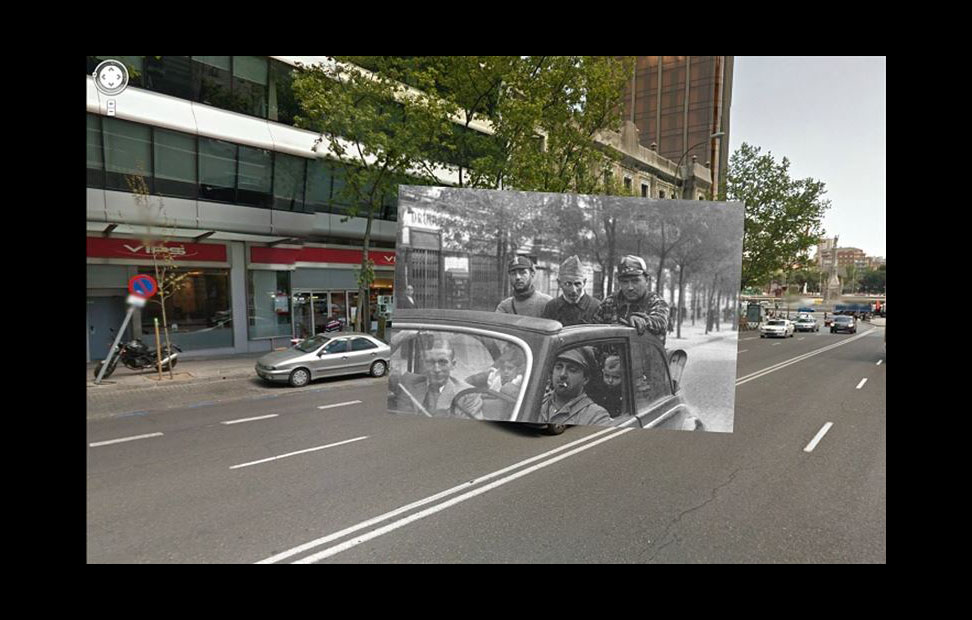 Imágenes de la Guerra Civil con las panorámicas de GoogleStreet View. CALLE GÉNOVA (1936). COLECCIÓN ARCHIVO HISTÓRICO DEL PCE.CALLE GÉNOVA (1936). COLECCIÓN ARCHIVO HISTÓRICO DEL PCE.