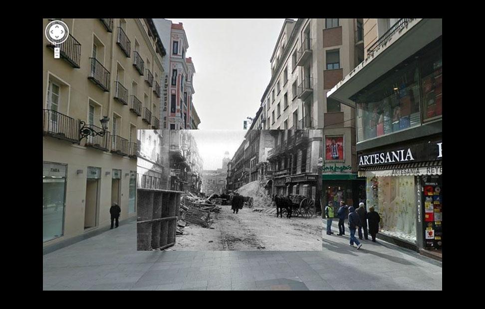 Imágenes de la Guerra Civil con las panorámicas de GoogleStreet View. CALLE PRECIADOS (1937). COLECCIÓN AGA (ARCHIVO GENERAL DE LA ADMINISTRACIÓN).