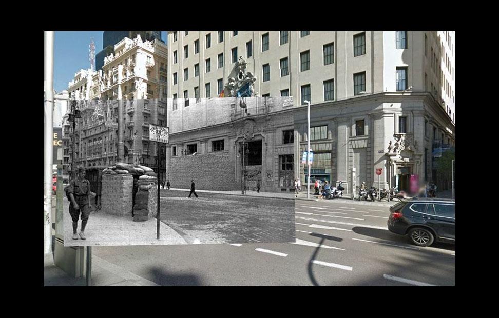 Imágenes de la Guerra Civil con las panorámicas de GoogleStreet View. GRAN VÍA (1936). COLECCIÓN ARCHIVO HISTÓRICO DEL PCE.