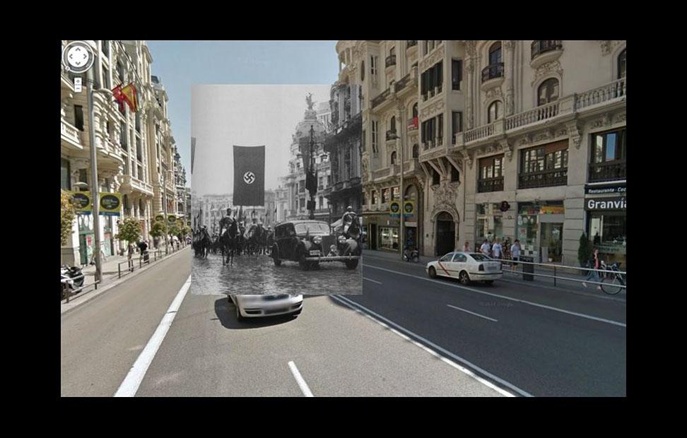 Imágenes de la Guerra Civil con las panorámicas de GoogleStreet View. GRAN VÍA EN LA POSGUERRA (1943)