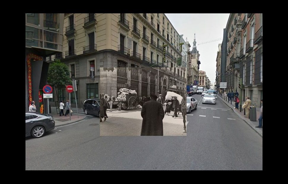 Imágenes de la Guerra Civil con las panorámicas de GoogleStreet View. CARRERA DE SAN JERÓNIMO