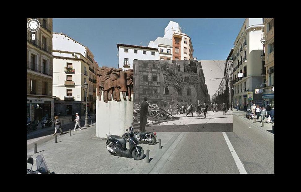 Imágenes de la Guerra Civil con las panorámicas de GoogleStreet View. CALLE ATOCHA (1937)