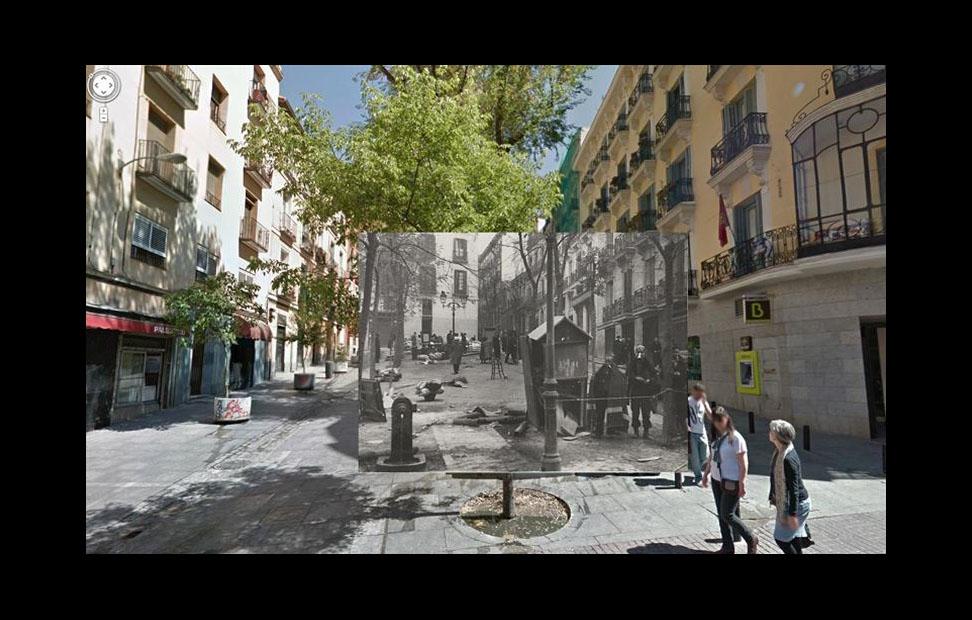 Imágenes de la Guerra Civil con las panorámicas de GoogleStreet View. CALLE PEZ CON PLAZA DE CARLOS CAMBRONERO (1937)