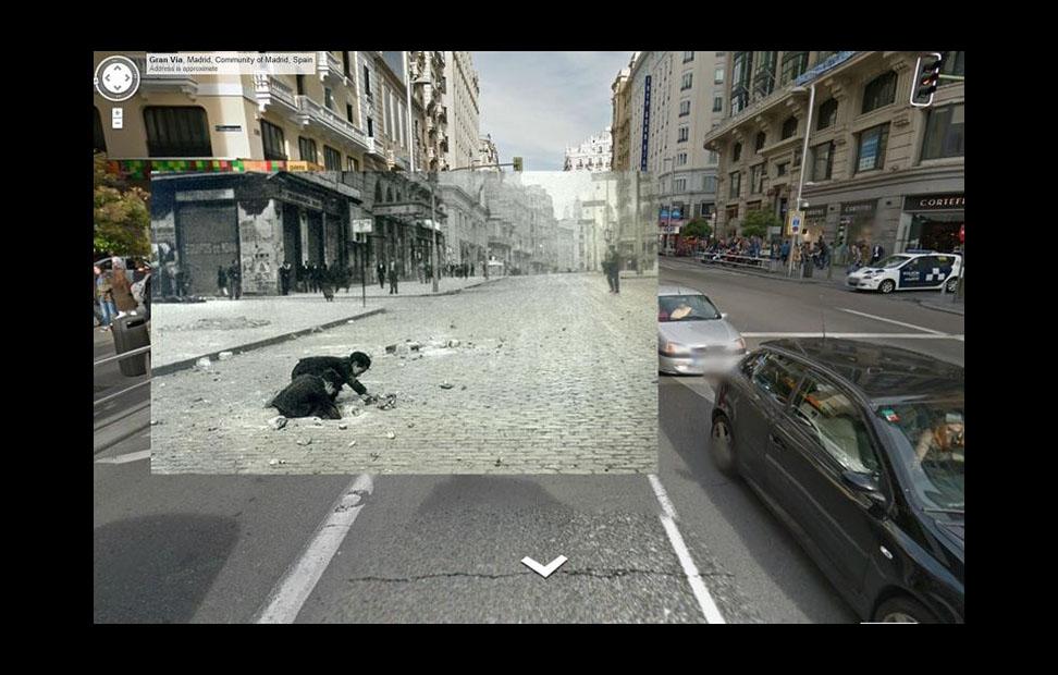 Imágenes de la Guerra Civil con las panorámicas de GoogleStreet View. GRANVIA (1937). FOTOGRAFÍA ORIGINAL DE JUAN PANDO.