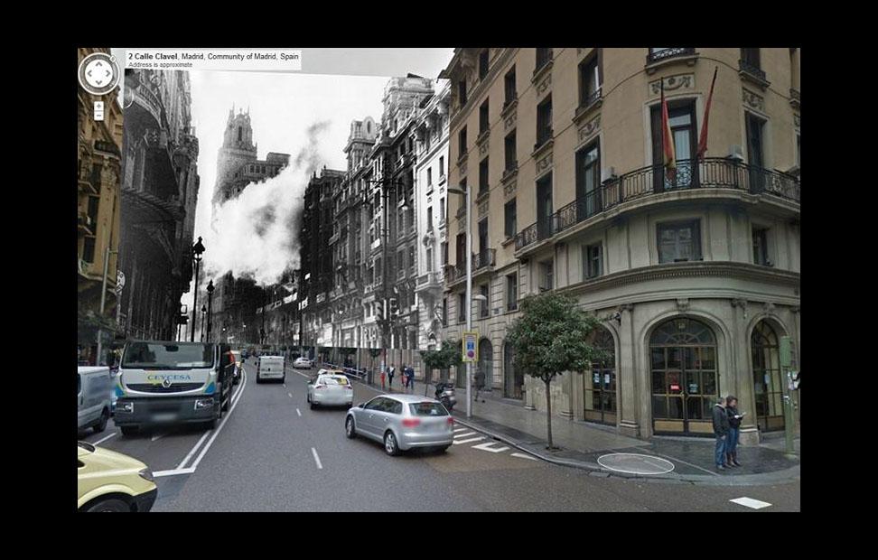 Imágenes de la Guerra Civil con las panorámicas de GoogleStreet View. GRAN VÍA (1936)