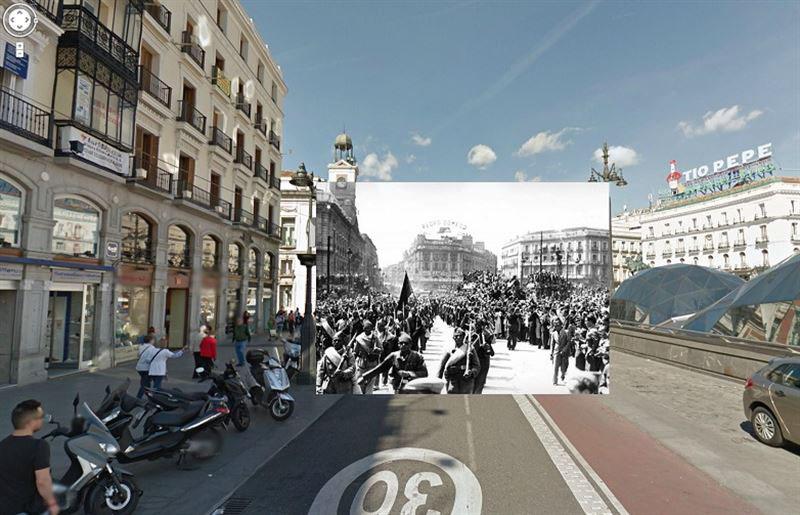 Imágenes de la Guerra Civil con las panorámicas de GoogleStreet View. PUERTA DEL SOL (1939)