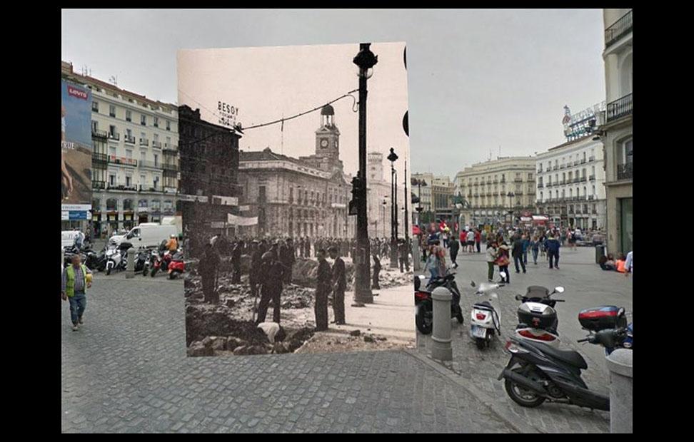 Imágenes de la Guerra Civil con las panorámicas de GoogleStreet View. PUERTA DEL SOL (1936)