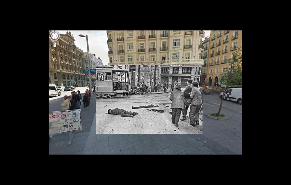 Imágenes de la Guerra Civil con las panorámicas de GoogleStreet View. CALLE MONTERA (1937)
