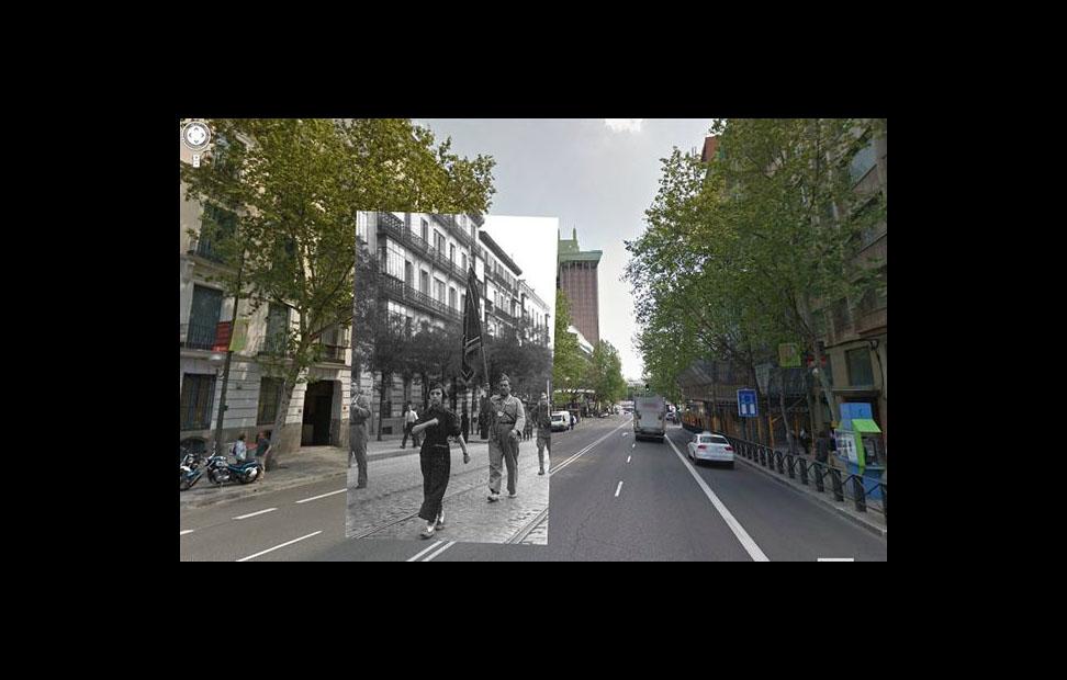 Imágenes de la Guerra Civil con las panorámicas de GoogleStreet View. CALLE GÉNOVA (1936). COLECCIÓN ARCHIVO HISTÓRICO DEL PCE.