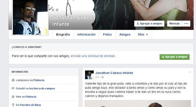 Captura de pantalla del perfil de 'Facebook' de Jonathan Cabeza.