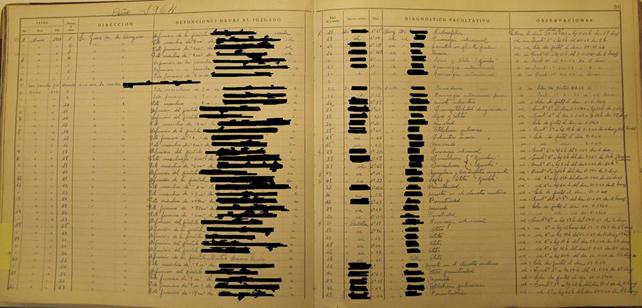 Imagen del libro de defunciones de la maternidad de O'Donell.