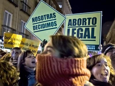 Imagen de una protesta contra la reforma de la ley del aborto.