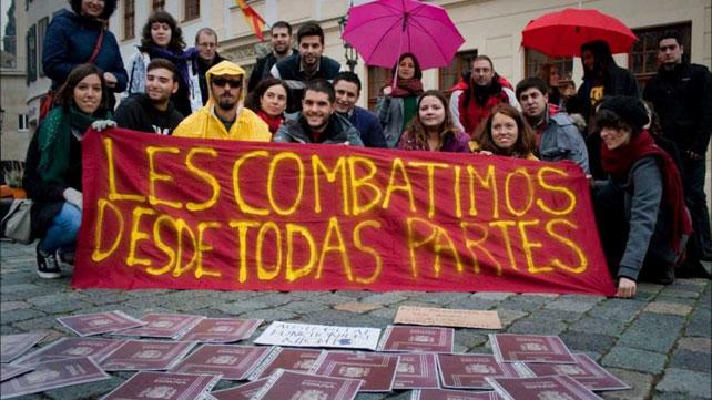 'Exiliados económicos' de la Marea Granate durante una de sus últimas acciones, el pasado octubre.