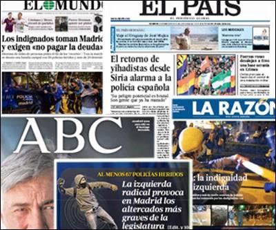 Combo con las portadas de algunos periódicos de papel. La que más ha dado importancia a lo sucedido en Madrid ha sido la prensa catalana.