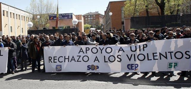 Más de 600 agentes de la UIP se han concentrado ante el complejo policial de Moratalaz.