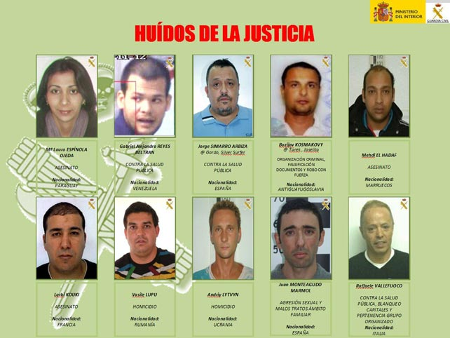 Infografía de los delincuentes Más Buscados facilitada porción la Guardia Civil.