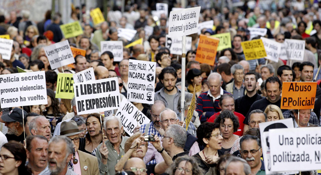 Momento de la concentración por la liberación de los presos del 22-M.