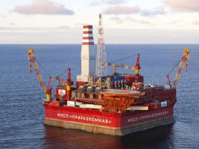 La plataforma Prirazlómnaya en el Ártico.