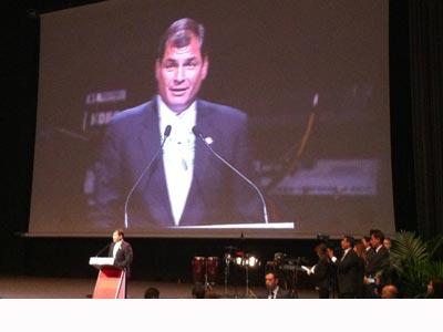Rafael Correa, en el Auditorio del Fórum. ROGER XURIACH