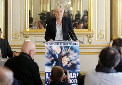 La líder del Frente Nacional (FN) francés y candidata de esa formación de extrema derecha a las próximas elecciones al Parlamento Europeo.