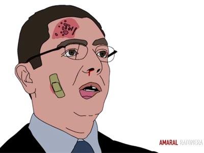 Ilustración de 'Querido Antonio' que muestra al Ministro de Justicia víctima de la violencia de género.