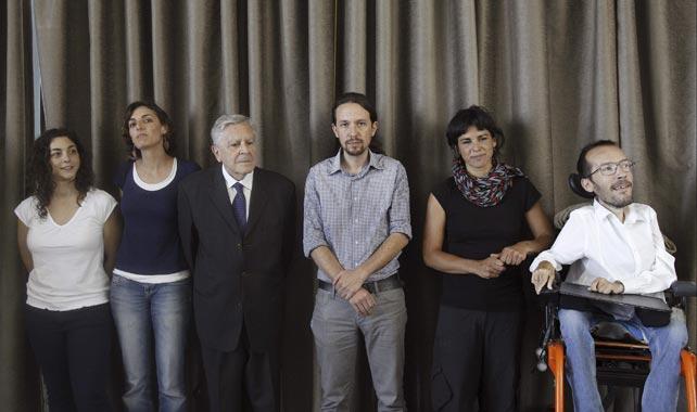 Los eurodiputados de Podemos, en la rueda de prensa celebrada en Círculo de Bellas Artes de Madrid.
