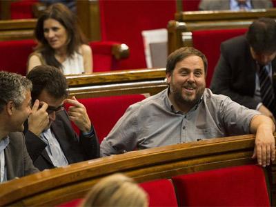 El presidente de ERC, Oriol Junqueras, durante una sesión. EFE/Alejandro García