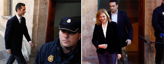 Iñaki Urdangarin y la infanta Cristina, cuando acudieron a declarar al juzgado de Palma ante el juez del caso Nóos, José Castro.