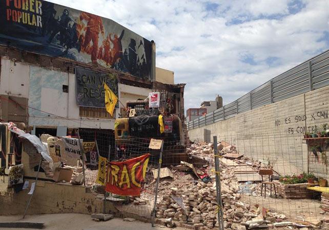 Sección derribada de Can Vies, foco de violentas protestas en Barcelona.