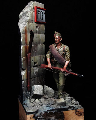 Obra 'Soldado nacional 1936', galardonada en los premios del Ejército.