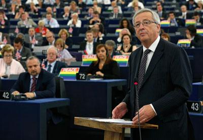Jean-Claude Juncker durante su intervención en el Parlamento Europeo.