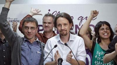 Pablo Iglesias celebra el gran resultado electoral de Podemos en la noche del 25-M.