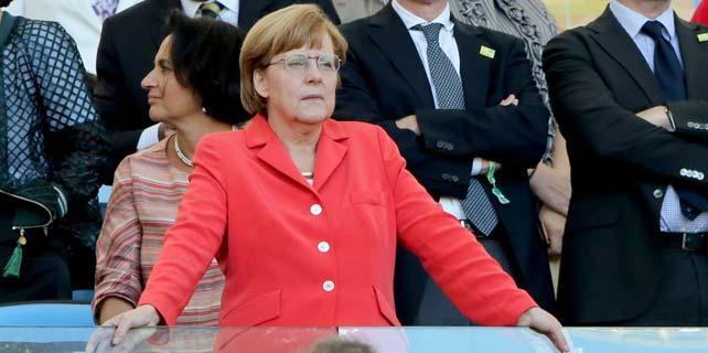 Angela Merkel, en la final del Mundial de Fútbol 2014, entre Alemania y Argentina. Rio de Janeiro, 13 de julio de 2014. EFE/EPA.