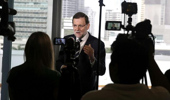El presidente del Gobierno, Mariano Rajoy, durante su comparecencia ante los periodistas en Panamá, en la que defendió su propuesta de modificar la ley para que sea alcalde el candidato más votado en unas municipales.