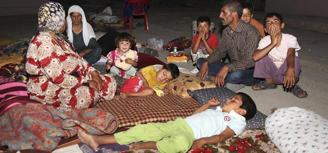 Yazidíes desplazados en Mosul