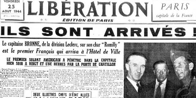 Portada del diario francés 'Liberation', cuando las tropas españolas llegaron a París.