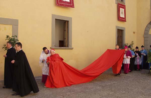 El cardenal Antonio Cañizares, portando la mayestética capa.
