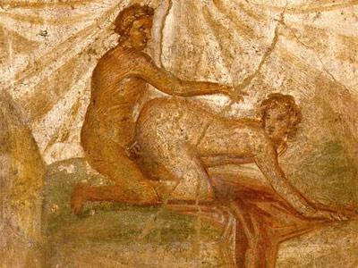 Escena erótica en un fresco de Pompeya. /