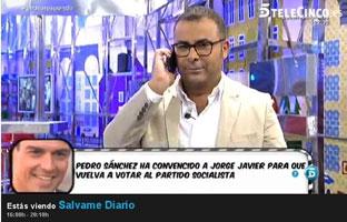 Sánchez busca votos en<br> el público de 'Sálvame'<br> y de 'El Hormiguero'